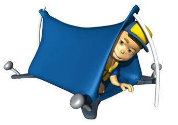 Cub Scout in tent graphic